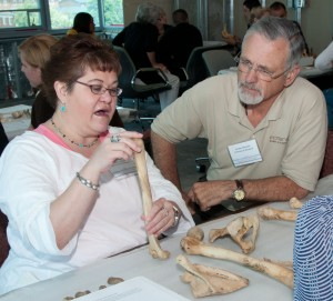 Forensic Anthropologist, Lenore Barbian, PhD., one of the instructors with student, Tom Mauriello.