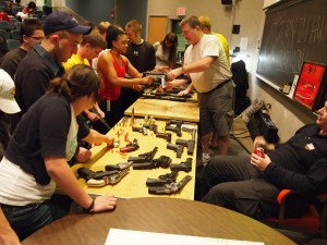 Tom's CCJS320: Introduction to Criminalistics class learning about firearms identification.