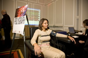 Demonstrating the polygraph at the Truth & Lies of CSI at the University of Maryland Alumni Program on 2/7/2009.