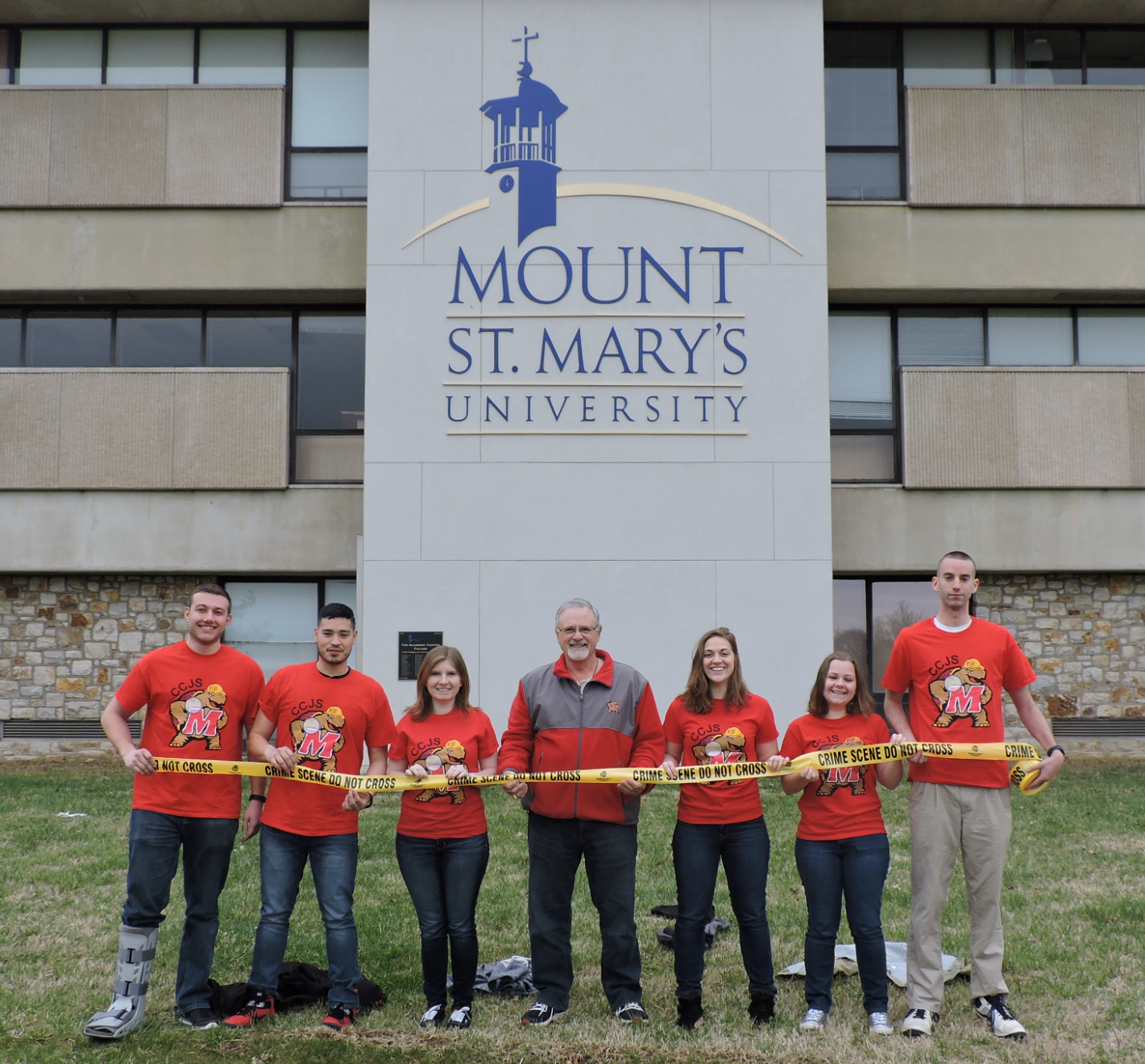 (L to R) CSI Terp #2- Patrick Hannigan, Andres Hernandez, Kaitlyn Asbury; Professor Tom Mauriello; and CSI Terp #1 – Emily Toth, Bailey Jean Pendergast, and Nathan